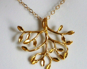 Gold Tree Necklace - Gold tree of life necklace, bridesmaid gifts, gold, yellow, orange, Mothers Day, Birthday Gifts