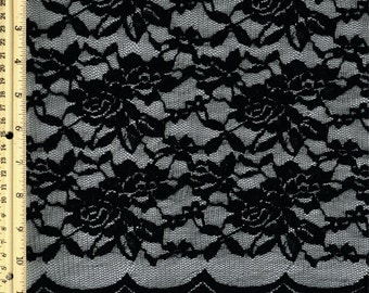 Black Scalloped Lace Fabric by the Yard Wedding Bridal Craft Lace Material  Black Lace Fabrics - 1 Yard Style 312