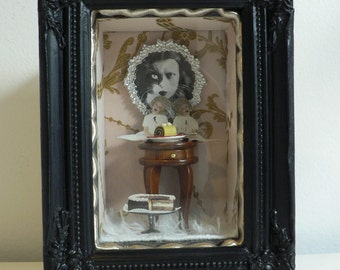 mixed media art/ shadow box/ assemblage/ when the cats away, the mice will play