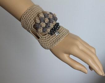 Beige Freeform Crochet Cuff -  Bracelet