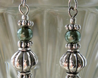 Sage Green and Antiqued Silver Earrings