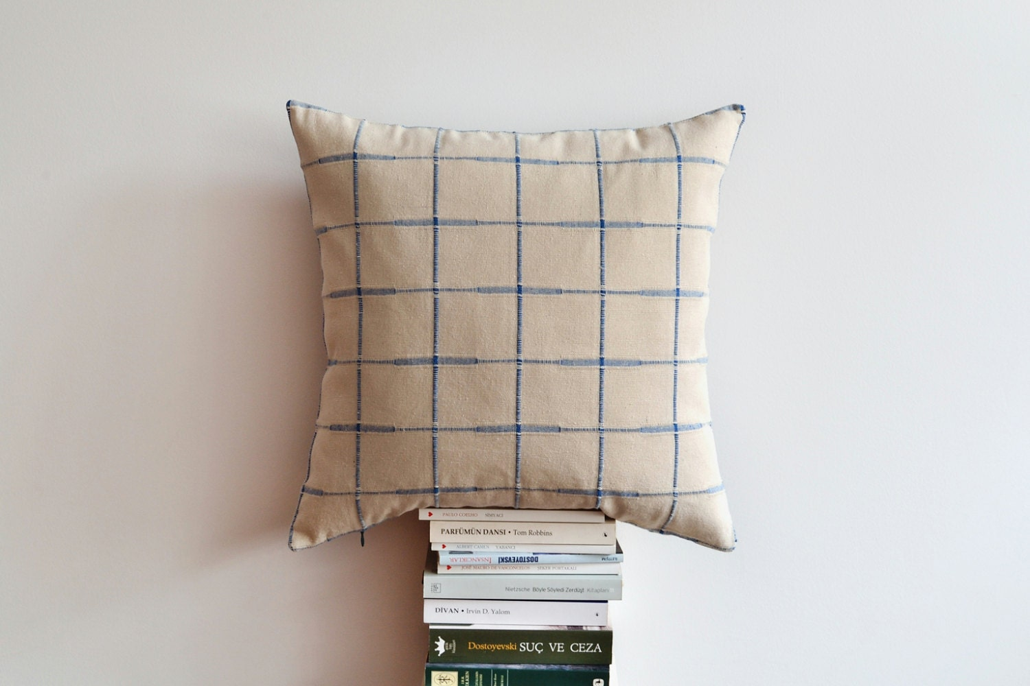 Modern Plaid Pillow : Decorative Modern Plaid Pillow Cover Ivory Blue Plaid