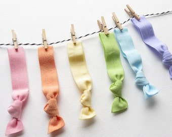 Spring Summer Pastel Elastic Hair Ties - Soft Colors Rainbow Set Of 6