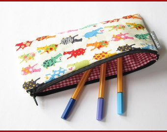 Pencil case hippos on beige, writing case