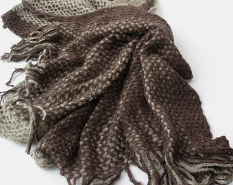 CLEARANCE SALE - 2 in 1- Circle Scarf & Extra Large Knit Scarf - Brown Beige Scarf - Tube Scarf - Infinity Scarf - Loop Scarf  785