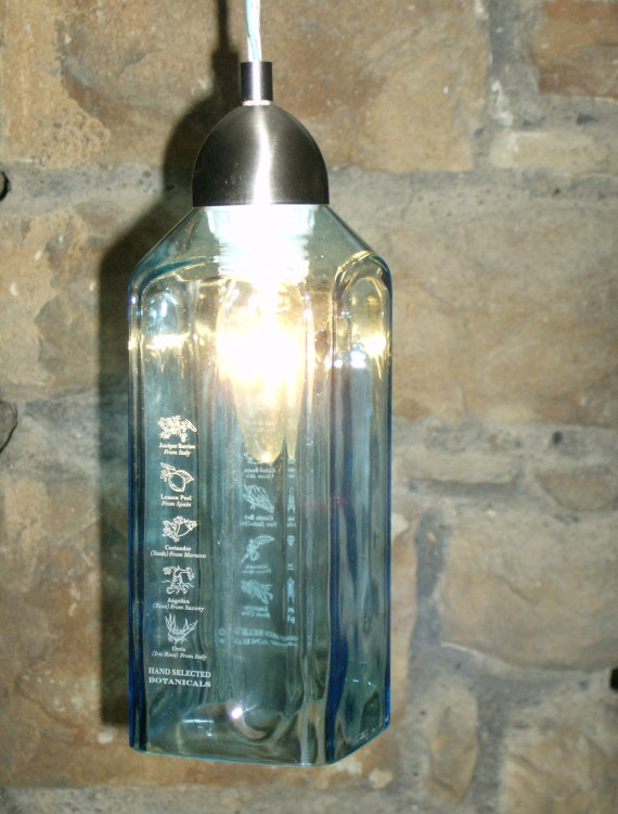 bombay sapphire gin pendant light by recycleglass on etsy. Black Bedroom Furniture Sets. Home Design Ideas