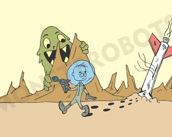 """Funny rocket crash landing on alien monster planet, Art - """"No Sign of Life"""" - 13x19 Digital Print"""