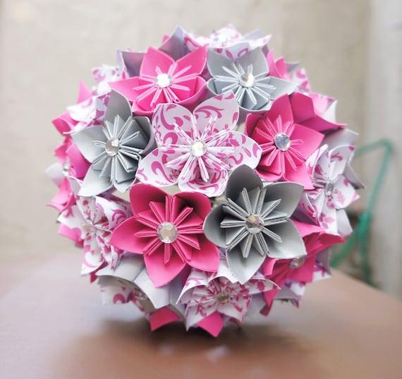 mariage kusudama origami papier fleur personnalis argent de. Black Bedroom Furniture Sets. Home Design Ideas