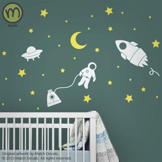 Baby nursery wall decals star wall stickers outer by for Outer space vinyl wall decals