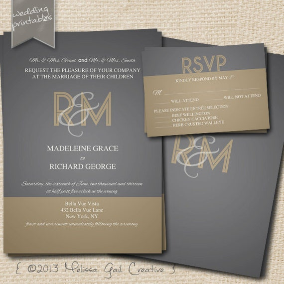 1920s Gold and Gray Printable Wedding Invitation Collection. Customize Text and Design.