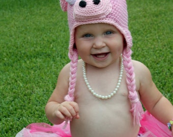 Little Girls Crochet Pig Hat