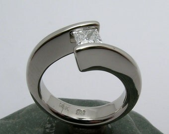 1/2 Carat Princess Cut Canadian Diamond Tension set in Hand Made and Hammer Forged 18k white gold split sea wave Engagement Ring