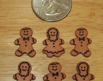 Gingerbread Man and Woman Embellishments for Scrapbook or Cards, Set of 6 pieces