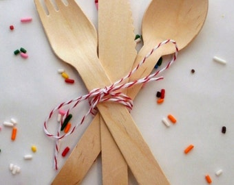 Wood Spoons Forks Knives with Twine - 24 Utensils Weddings Parties Showers