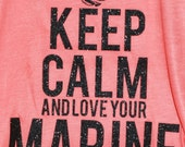 Keep Calm And Love Your Marine - Women's USMC Glitter Tank Top