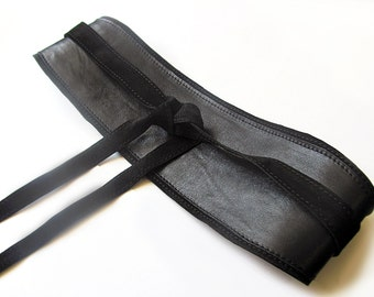 Black leather Obi belt, Black wide waist belt