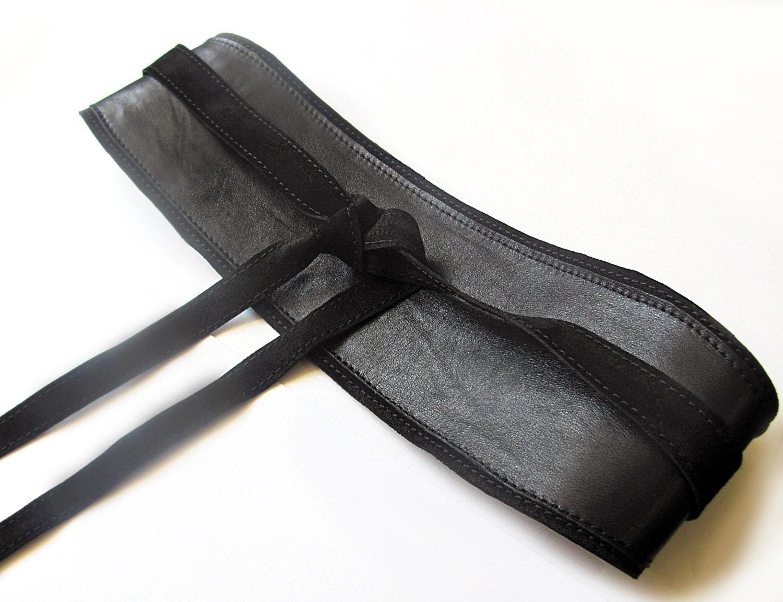 black leather obi belt black wide waist belt
