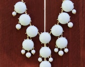 Bubble Necklace, White J Crew Inspired Bubble Necklace with Gold Tone Chain