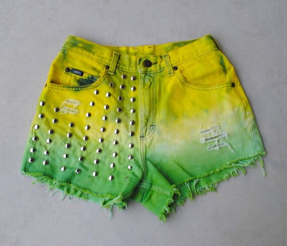 Pre-made Dip Dyed Yellow and Green Distressed Ripped and Studded High Waisted Jean Shorts