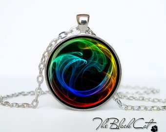 Rainbow abstract necklace Rainbow abstract pendant Mod jewelry