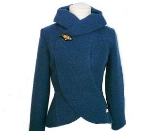 Women boiled wool Jacket turquoise size Xs-L
