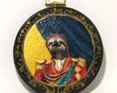 """Sloth Prince: Hand painted 4""""x4"""" wooden plaque"""