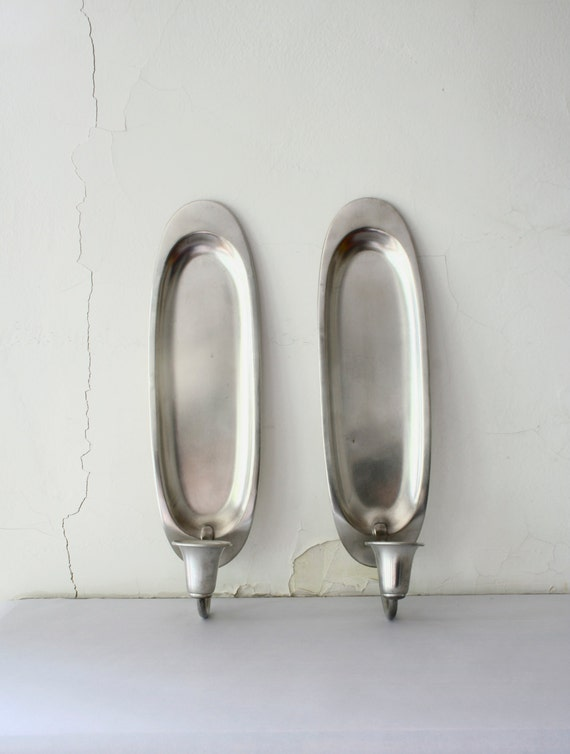 Vintage Danish Pewter Wall Sconce / Danish Candle Holder Pair
