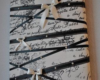 Memo board, memory board, vision board, fabric memo board, French memo board, memory boards, notice board, bow holder, French script, Paris