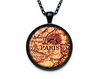 Paris vintage map Pendant Paris vintage map Necklace Paris vintage map Jewelry old map