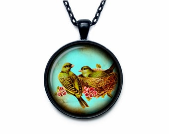 Bird nest pendant Bird nest necklace Bird nest jewelry nature necklace (PBN00008)