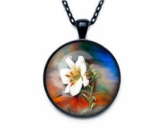Lily pendant Lily necklace Lily jewelry flower necklace