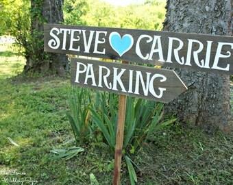 Wedding Parking Sign, Custom Parking Sign, Parking Sign, Wedding Directional, Wood Arrow Sign, Road Signs Wedding, Directional Sign