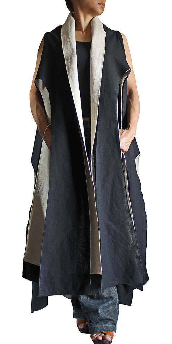 Linen Cotton Layered Sleeveless Long Coat Black and White