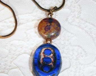 Blue Czech Glass Pendant Necklace