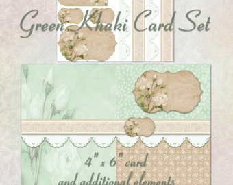 Green Khaki Card Set - Digital Scrapbook Clipart Graphics Card and Tag Set