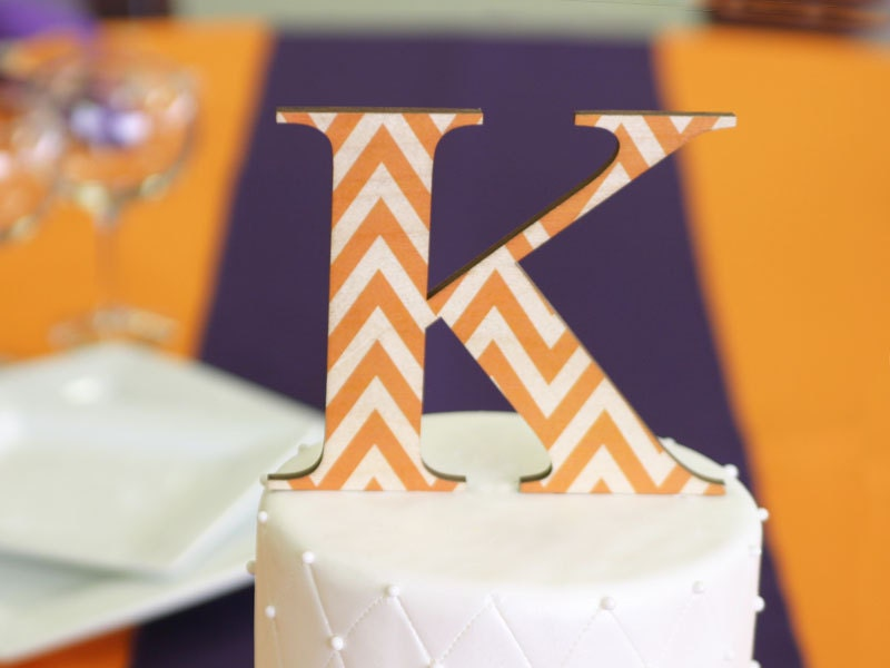 Cake Decorating Zig Zag : Chevron Monogram Cake Topper Zig-Zag Color & Font by WeddingCuts