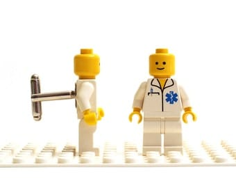 Hospital / Ambulance cuff links. Cufflinks made with LEGO(R) bricks. Wedding, gift, birthday, graduation, groomsman...