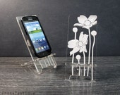 Acrylic Floral Samsung Galaxy S5 S4 S3 Android Cell Phone Stand Docking Station Mobile Phone Stand Meldoy Flowers