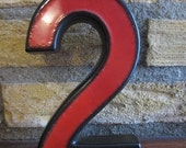Fun Retro Ceramic '2' (House Number) Mid Century Modern 60s 70s Red Dark Brown Lava Ceramics and Glaze Original Ornament Home Decoration - TeaCupCakeNL