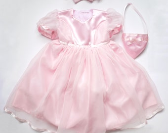 Bridesmaid Dress in Pink Chiffon and Satin.( Only 1 left in size 18-24mths )