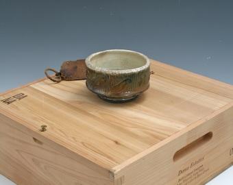 Metallic Red Raku Bowl, Gold Raku Yunomi, Ceramic Raku Yunomi Pottery