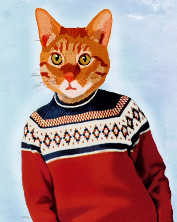 Ginger Cat in Ski Jumper by Loopy Lolly on Etsy