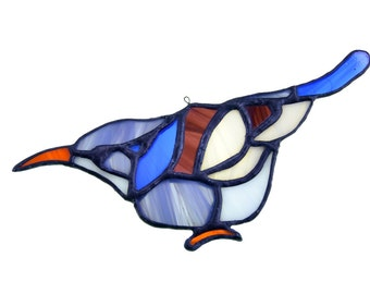 Stained glass bird suncatcher, window ornament, hanging home decor blue brown white colour