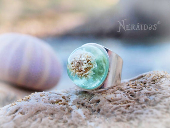 Blue Ocean Ring, aqua resin turquoise blue white seaweed cabochon mermaid Mediterraean sea