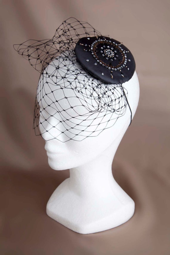 "hand-embroidered round fascinator with veiling "" Eclipse"", for a wedding, the New Year"
