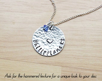 Customized Hand Stamped Bible Verse Aluminum Necklace - Choose Your Verse