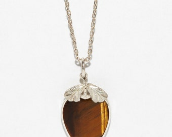 Tiger Eye Apple Pendant Necklace
