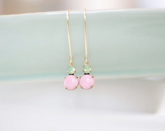 Green Opal and Ballet Pink Earrings