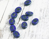 Czech Glass Rustic Table Cut Oval Beads, Picasso Blue, 14x10 mm, 10 pcs- 2362