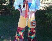 1 WEEK SALE  Patchwork Hippie Pixie Bloomer pants, festival gypsy bell bottoms,upcycled ooak vintage yoga flow dance pants wide leg
